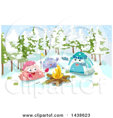 Clipart of a Group of Tent Characters Around a Campfire on a Snowy Day - Royalty Free Vector Illustration by BNP Design Studio