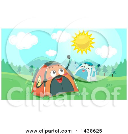 Clipart of Happy Tent Characters on a Sunny Day - Royalty Free Vector Illustration by BNP Design Studio