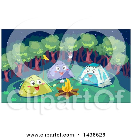 Clipart of a Group of Happy Tents Making Smores Around a Camp Fire - Royalty Free Vector Illustration by BNP Design Studio