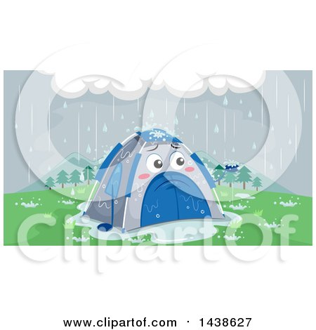 Clipart of a Sad Tent Being Rained on - Royalty Free Vector Illustration by BNP Design Studio