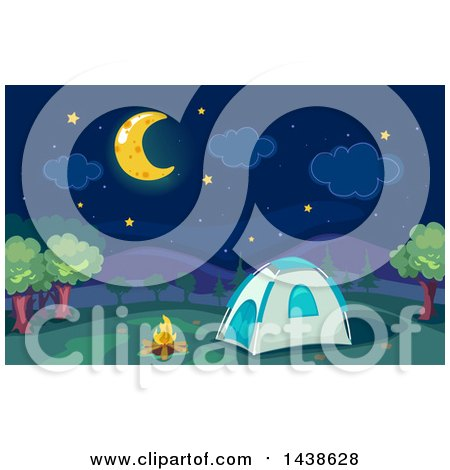 Clipart of a Campfire and Tent Under a Crescent Moon and Night Sky - Royalty Free Vector Illustration by BNP Design Studio