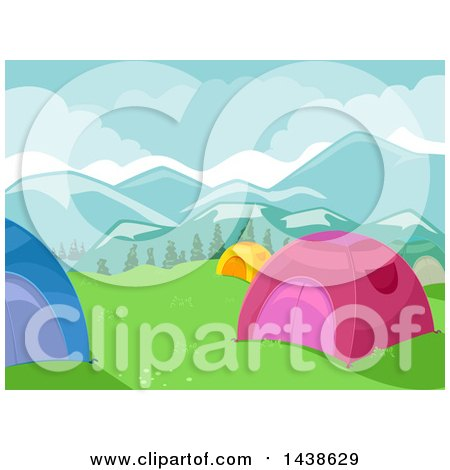 Clipart of a Mountainous Camp Site with Tents - Royalty Free Vector Illustration by BNP Design Studio