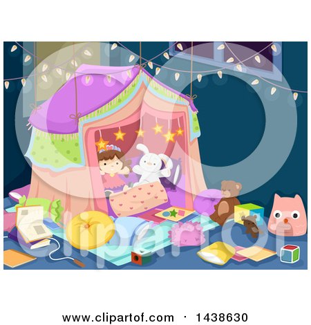 Clipart of a Tent in a Play Room - Royalty Free Vector Illustration by BNP Design Studio