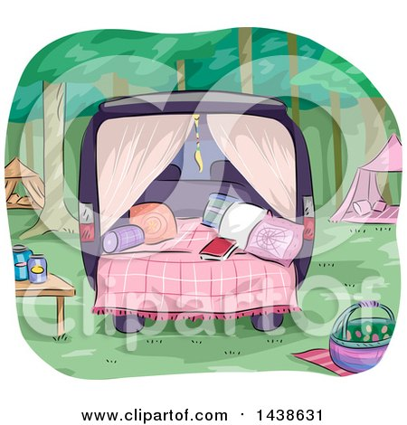 Clipart of a Glamping Site Set up in the Back of a Van - Royalty Free Vector Illustration by BNP Design Studio