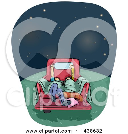 Clipart of a Sketched Couple Stargazing in the Back of a Pickup Truck - Royalty Free Vector Illustration by BNP Design Studio