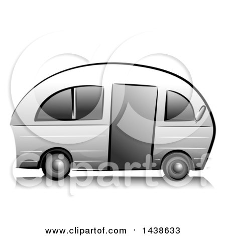 Clipart of a Grayscale Camper - Royalty Free Vector Illustration by BNP Design Studio