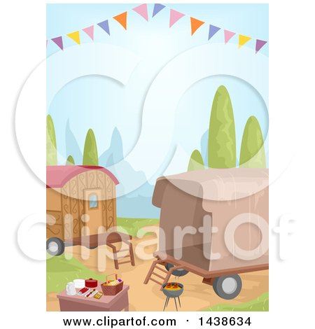 Clipart of a Picnic and Caravans - Royalty Free Vector Illustration by BNP Design Studio
