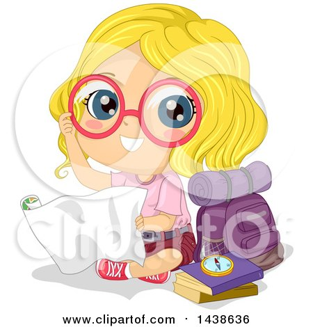Clipart of a Happy Blond White Explorer Girl with Her Gear - Royalty Free Vector Illustration by BNP Design Studio