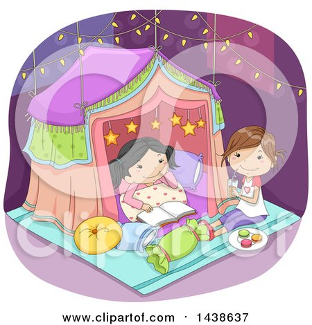 Clipart of Happy Girls Sleeping in a Tent Under Fairy Lights - Royalty Free Vector Illustration by BNP Design Studio