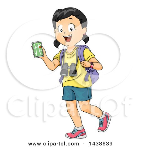 Clipart of a Happy Girl Walking with a Backpack, Nagivation App and Binoculars - Royalty Free Vector Illustration by BNP Design Studio