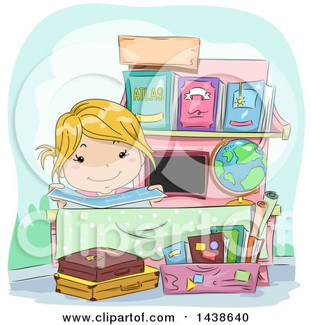 Clipart of a Happy Blond White Girl at a Roadside Book Stand - Royalty Free Vector Illustration by BNP Design Studio