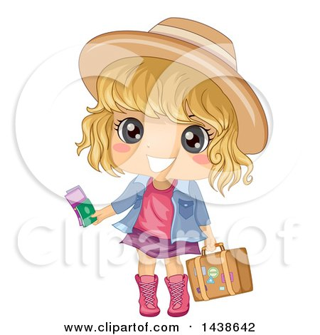Clipart of a Happy Blond White Girl Traveler Holding Tickets and a Suitcase - Royalty Free Vector Illustration by BNP Design Studio