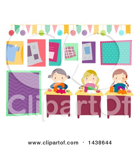 Clipart of a Group of Girls Making Party Supplies - Royalty Free Vector Illustration by BNP Design Studio