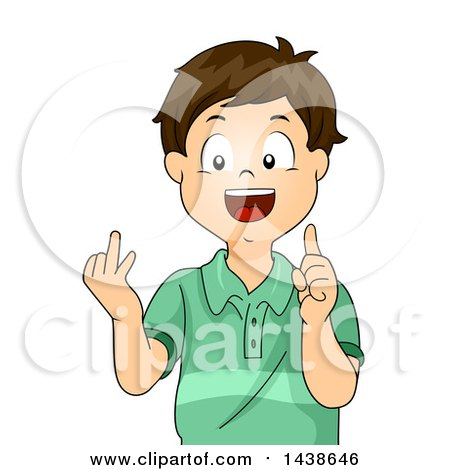 Clipart of a Happy Brunette White Boy Counting with His Fingers - Royalty Free Vector Illustration by BNP Design Studio