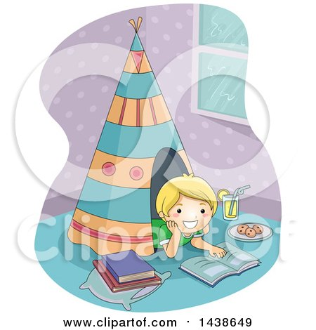 Clipart of a Happy Blond White Boy Reading Inside a Teepee in His Room - Royalty Free Vector Illustration by BNP Design Studio