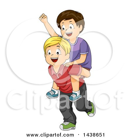 Clipart of a Happy Blond White Boy Giving a Brunette Boy a Piggy Back Ride - Royalty Free Vector Illustration by BNP Design Studio