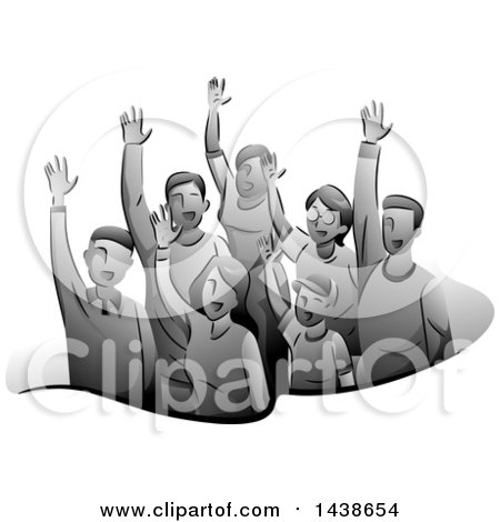 Clipart of a Grayscale Group of Volunteers Raising Their Hands - Royalty Free Vector Illustration by BNP Design Studio