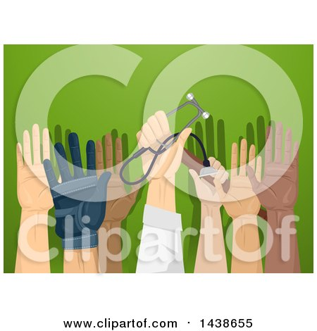 Clipart of Professionals Raising Their Hands to Volunteer for a Cause, over Green - Royalty Free Vector Illustration by BNP Design Studio