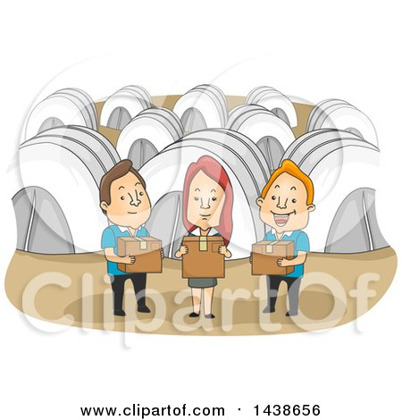 Clipart of a Group of Volunteers Holding Boxes of Supplies in a Refugee Camp - Royalty Free Vector Illustration by BNP Design Studio