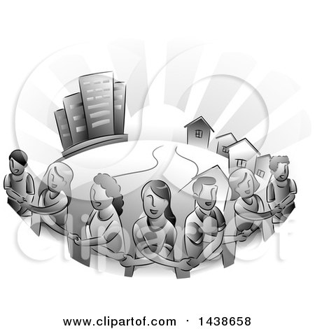 Clipart of a Grayscale Group of Urban Residents Crossing Their Arms and Holding Hands Around Their Town - Royalty Free Vector Illustration by BNP Design Studio