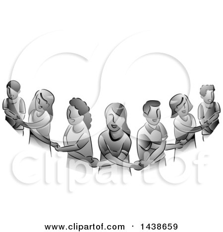 Clipart of a Human Chain of Grayscale People Holding Hands - Royalty Free Vector Illustration by BNP Design Studio