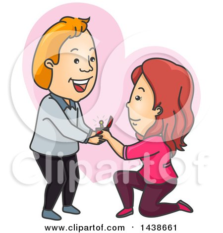 Clipart of a Cartoon White Woman Kneeling and Proposing to a Man over a Heart - Royalty Free Vector Illustration by BNP Design Studio