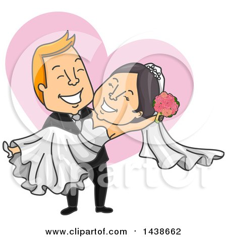 Clipart of a Cartoon White Male Groom Carrying His Asian Bride, over a Heart - Royalty Free Vector Illustration by BNP Design Studio