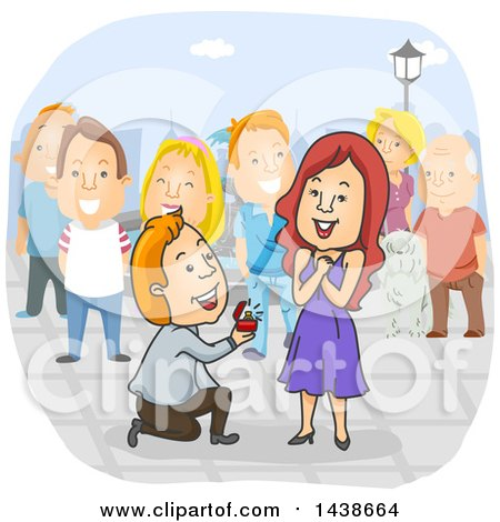 Clipart of a Cartoon White Man Kneeling and Proposing to a Woman with People Watching - Royalty Free Vector Illustration by BNP Design Studio