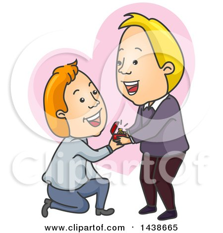 Clipart of a Cartoon White Gay Man Kneeling and Proposing to His Boyfriend over a Heart - Royalty Free Vector Illustration by BNP Design Studio