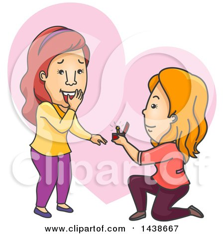 Clipart of a Cartoon White Lesbian Woman Kneeling and Proposing to Her Girlfriend - Royalty Free Vector Illustration by BNP Design Studio