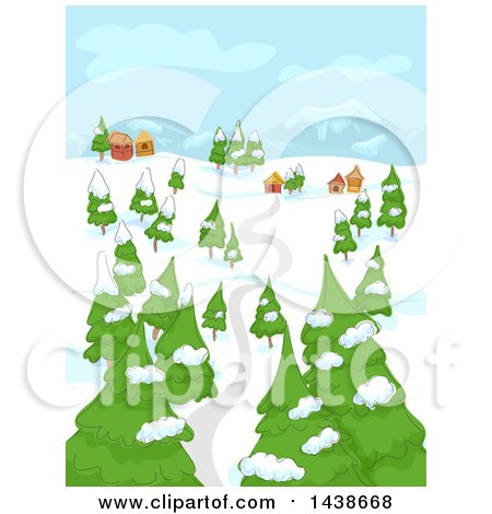 Clipart of a Rural Town on a Winter Day - Royalty Free Vector Illustration by BNP Design Studio