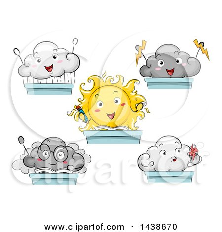 Clipart of Sun and Cloud Students at Desks - Royalty Free Vector Illustration by BNP Design Studio