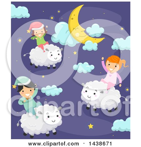 Clipart of a Group of Children Riding Sheep in a Night Sky - Royalty Free Vector Illustration by BNP Design Studio
