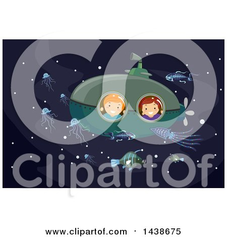 Clipart of a Boy and Girl Looking out of a Submarine Window at Bioluminescent Sea Life - Royalty Free Vector Illustration by BNP Design Studio