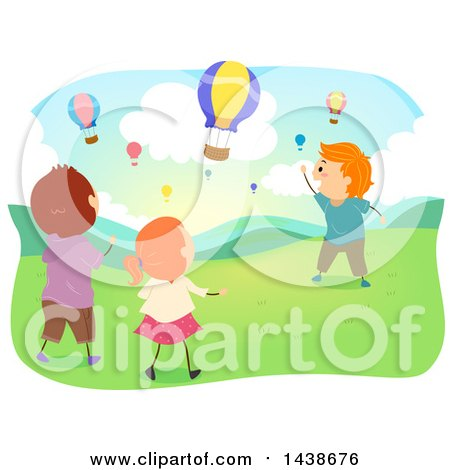 Clipart of a Group of Children Watching Hot Air Balloons - Royalty Free Vector Illustration by BNP Design Studio