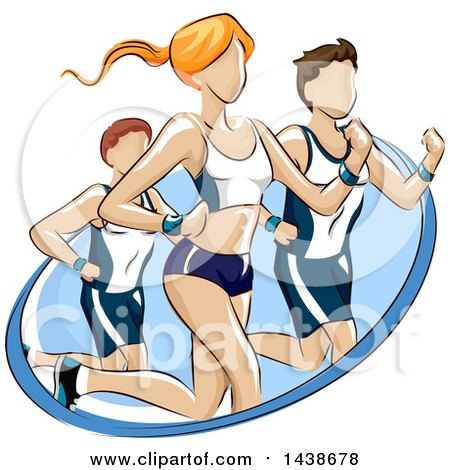 Clipart Of A Woman And Men Running A Marathon Or Fun Run Royalty Free Vector Illustration