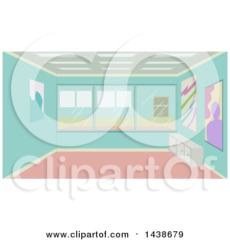 Clipart of a Modern Art Studio with Paintings on the Wall - Royalty Free Vector Illustration by BNP Design Studio