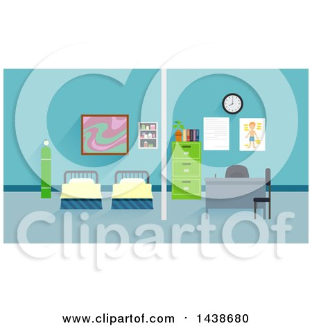 Clipart of Beds in a School Clinic - Royalty Free Vector Illustration by BNP Design Studio