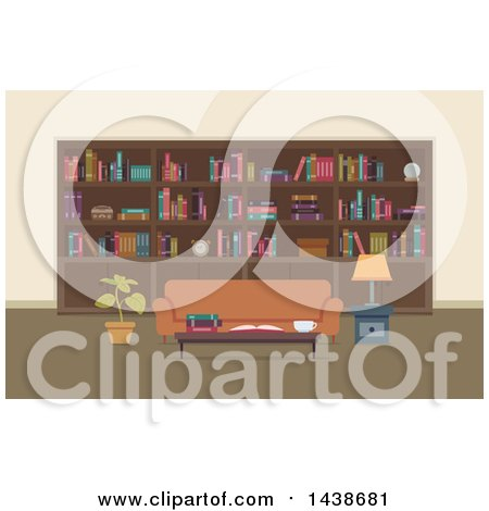Clipart of a Home Library with a Wall of Shelves and a Sofa - Royalty Free Vector Illustration by BNP Design Studio