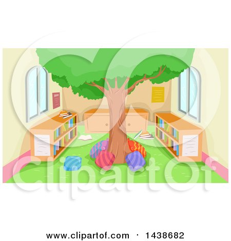 Clipart of a Tree in the Middle of a Reading Library Room - Royalty Free Vector Illustration by BNP Design Studio