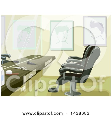 Clipart of a Barber Shop Counter and Chairs - Royalty Free Vector Illustration by BNP Design Studio