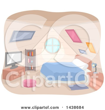 Clipart of a Bedroom in an Attic - Royalty Free Vector Illustration by BNP Design Studio