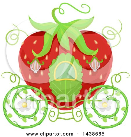 Clipart of a Strawberry Carriage - Royalty Free Vector Illustration by BNP Design Studio