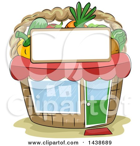 Clipart of a Sketched Basket Shaped Produce Market Building - Royalty Free Vector Illustration by BNP Design Studio