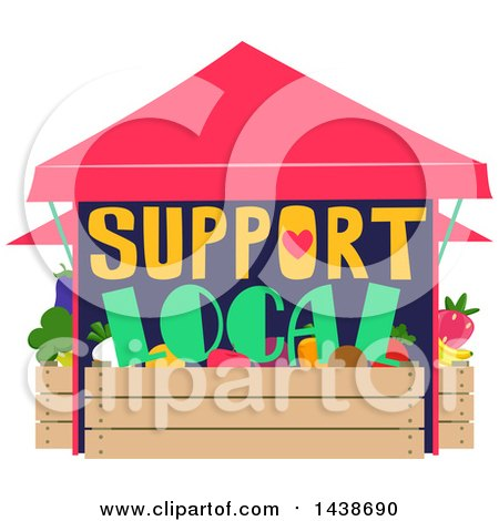 Clipart of a Support Local Produce Stand - Royalty Free Vector Illustration by BNP Design Studio