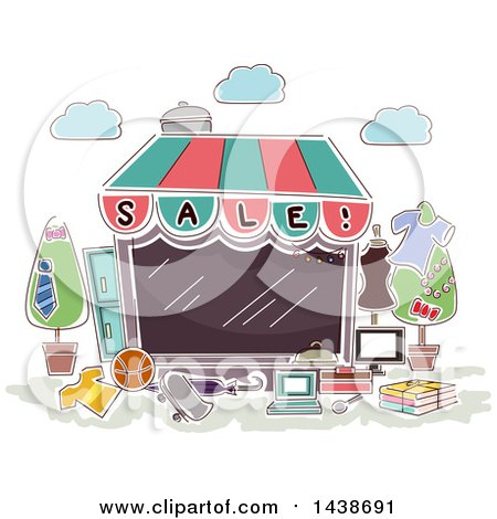 Clipart of a Sketched Retail Store Front - Royalty Free Vector Illustration by BNP Design Studio