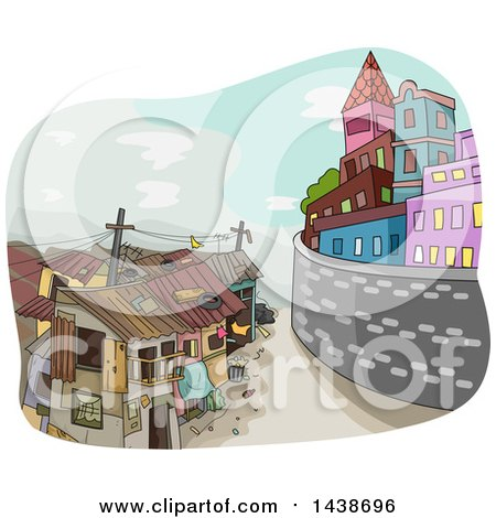 Clipart of a Sketched Division Between a Rich City and Poor Town - Royalty Free Vector Illustration by BNP Design Studio