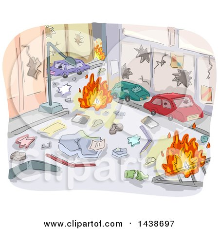 Clipart of a Sketched City Street After a Riot - Royalty Free Vector Illustration by BNP Design Studio