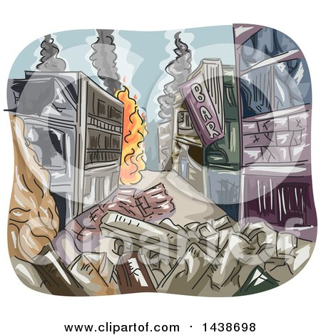 Clipart of a Sketched City Burning After a War - Royalty Free Vector Illustration by BNP Design Studio