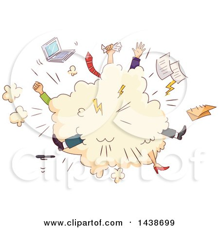 Clipart Of A Comic Cloud Of Sketched Office Workers Fighting Royalty Free Vector Illustration